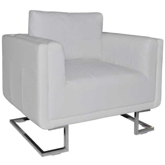 Fauteuil Cube - avec Pieds chromés Cuir synthétique - Chaise,Meubles,Fauteuil Cabriolet,Salon,Maison(Blanc, 85,5 x 63 x 74 cm)