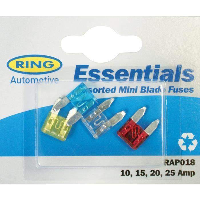 Ring Automotive rap018 assorties Mini lame Fusibles 10, 15,20, 25 Amp