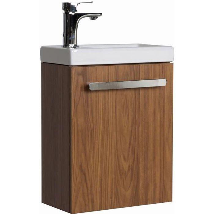 Lave-mains Nevada Avec Vasque Céramique L 41 X H 53 X P 21,5 Cm Décor Noyer