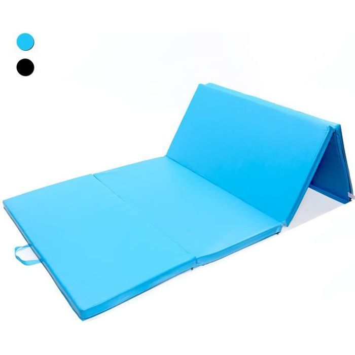 ISE Tapis de Sol 240cm Tapis de gymnastique pliable natte de gym matelas fitness 240 x 120 x 5 cm Bleu SY-3004-BL