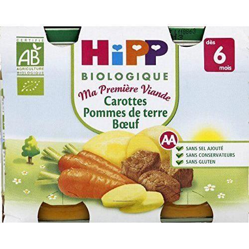 Hipp Biologique Ma Première Viande Légumes Pâtes Jambon dès 6 mois - 12 pots de 190 g - FR9916-A