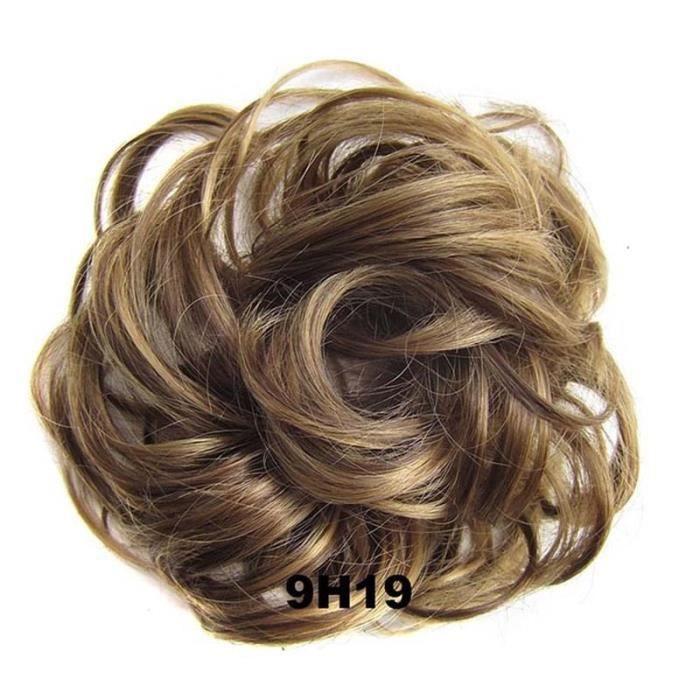 9H19 -Synthétique Flexible élastique femmes désordre cheveux Chignon brun noir blond bouclé Scrunchy Chignon postiche