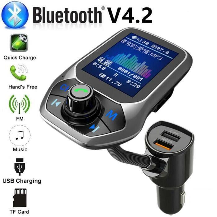 Double USB chargeur de voiture FM transmetteur QC 3.0 Charge Aux modulateur sans fil Bluetooth Kit - Type Bluetooth car charge