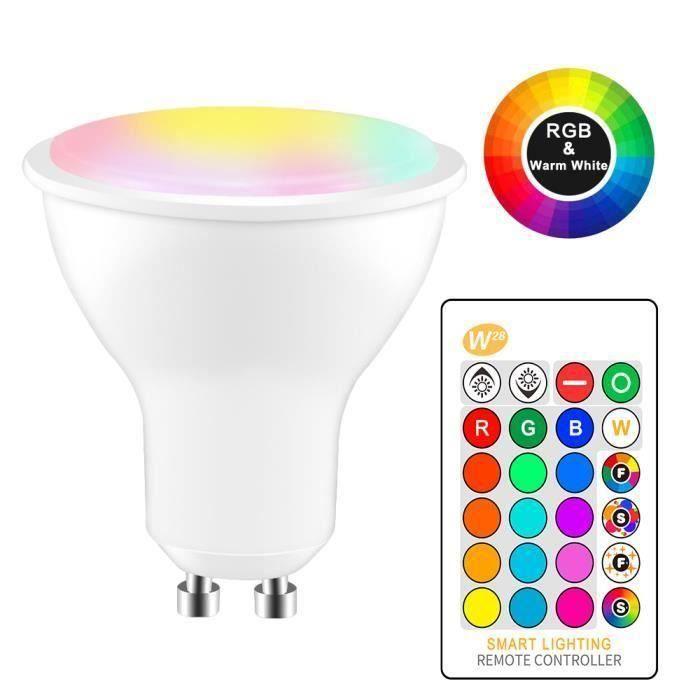8W RGBW Ampoule LED GU10 couleur Changement Atmosphere éclairage mode Strobe Fade lampe flash LED Bar KTV Décor blanc chaud