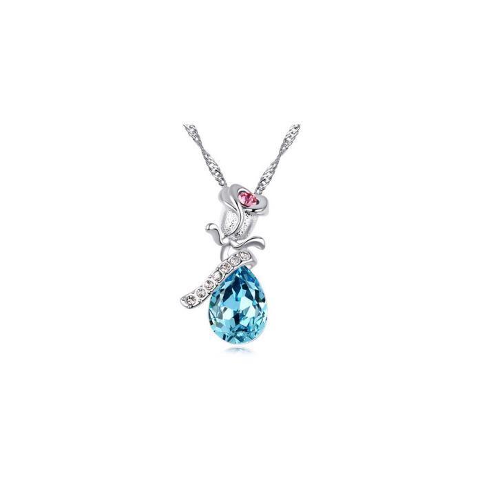 Collier Rose en Cristal de Swarovski Element Bleu, Rose, Blanc et Plaqué Or Blanc