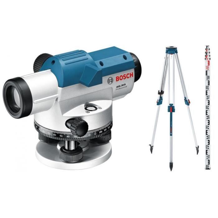 Bosch – Niveau optique jusqu'à 100m + Trépied + Mire (pack extérieur) – GOL 26 G