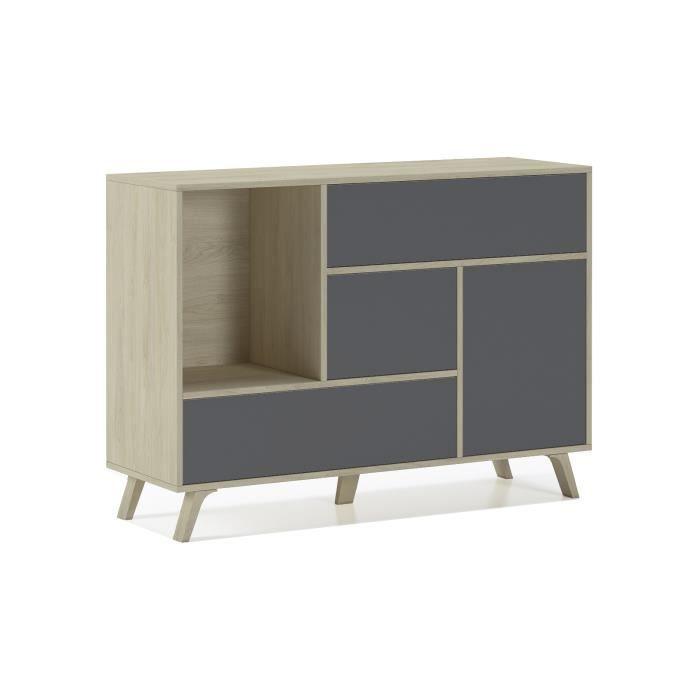 Buffet WIND 1 porte, 3 tiroirs, structure de couleur Puccini, porte et tiroirs de couleur Gris Anthracite, 120x40x86cm.
