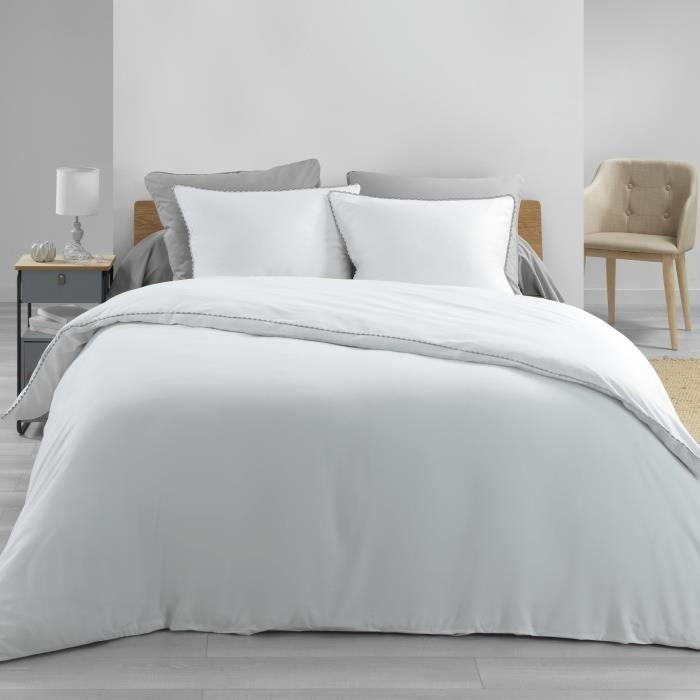 Housse de couette 220x240 cm en percale 78 fils loumea loumea Blanc/gris