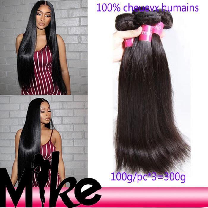3 paquet meches cheuevx lisse humains bresiliens 100g-pc 7a lisse hair 18+20+22pouces
