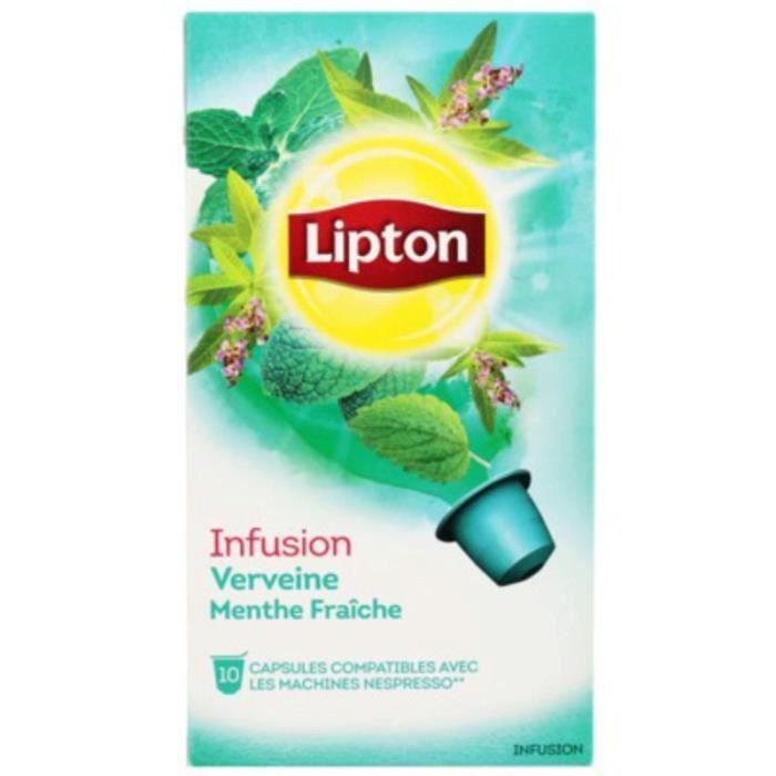 LIPTON Capsules Infusion Verveine menthe - 10x 25 g