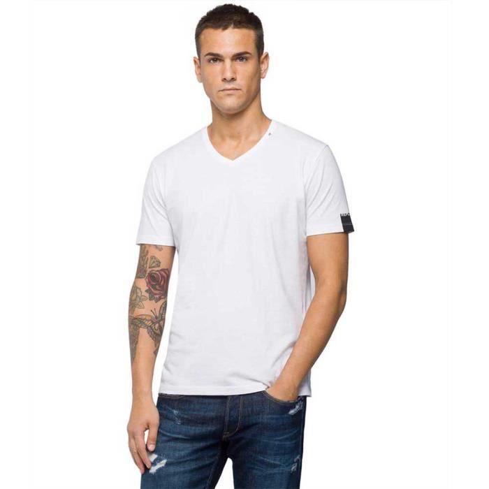 vêtements homme t-shirts replay basic jersey 30/1. caracteristiques: - t-shirt col en v homme en pur coton- coupe normale- bande ave