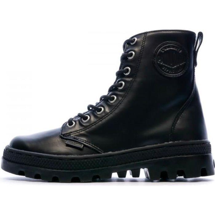 Boots noires cuir femme Palladium Pallabosse Off Lea
