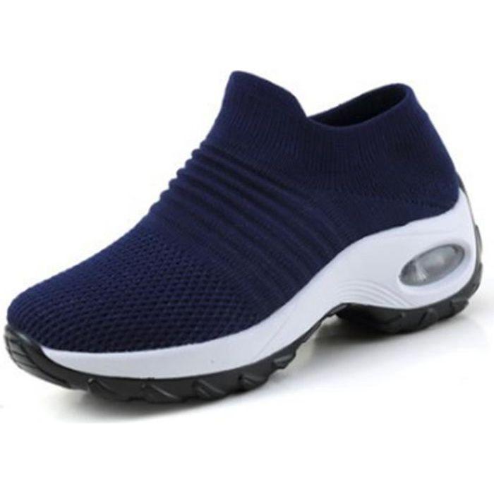 Chaussures de course de sport en maille pour hommes et femmes-bleu-blanc