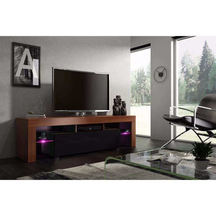 Meuble tv 160 cm noyer MDF et noir laqué avec led