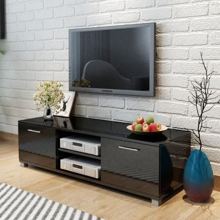 Meuble TV-Contemporain Scandinave Noir brillant 120 x 40,3 x 34,7 cm