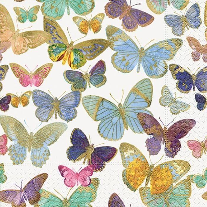 PAPER DESIGN - 20 Serviettes 33x33 cm - Golden buTTerflies