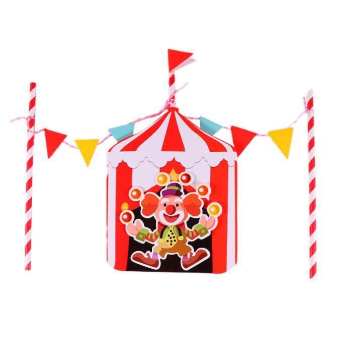 5 ensembles de gâteau thème cirque drôles drapeaux suspendus fournitures de fête pour anniversaire TAPIS D'EVEIL - AIRE D'EVEIL