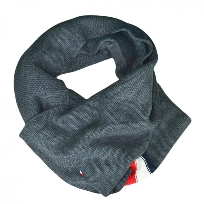 Echarpe Tommy Hilfiger grise bandes bleu blanc rouge pour homme - Couleur: Gris - Taille: TU