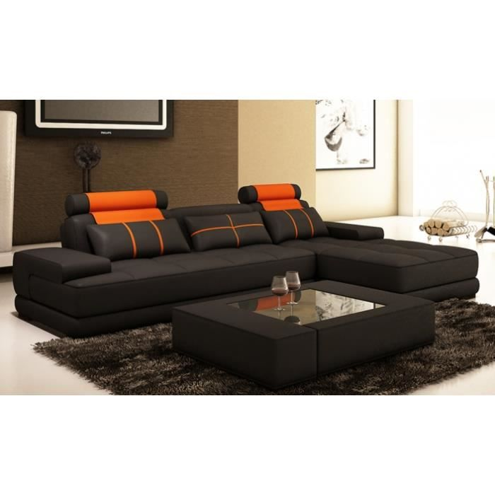 canap d 39 angle moderne cuir noir et orange alix ii achat. Black Bedroom Furniture Sets. Home Design Ideas