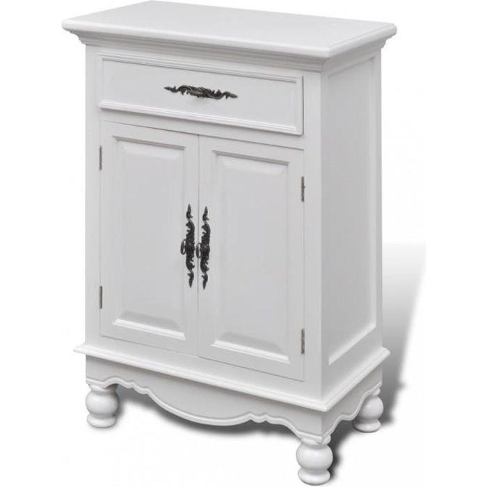 Armoires Et Meubles De Rangement Cabinet Blanc En Bois 2 Portes 1 Tiroir Achat Vente Petit Meuble Rangement Armoires Et Meubles De Cdiscount