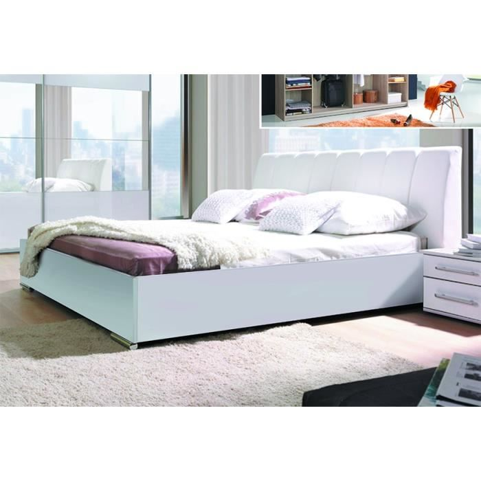 Ensemble blanc laqu lit design en simili cuir et 2 for Lit design complet