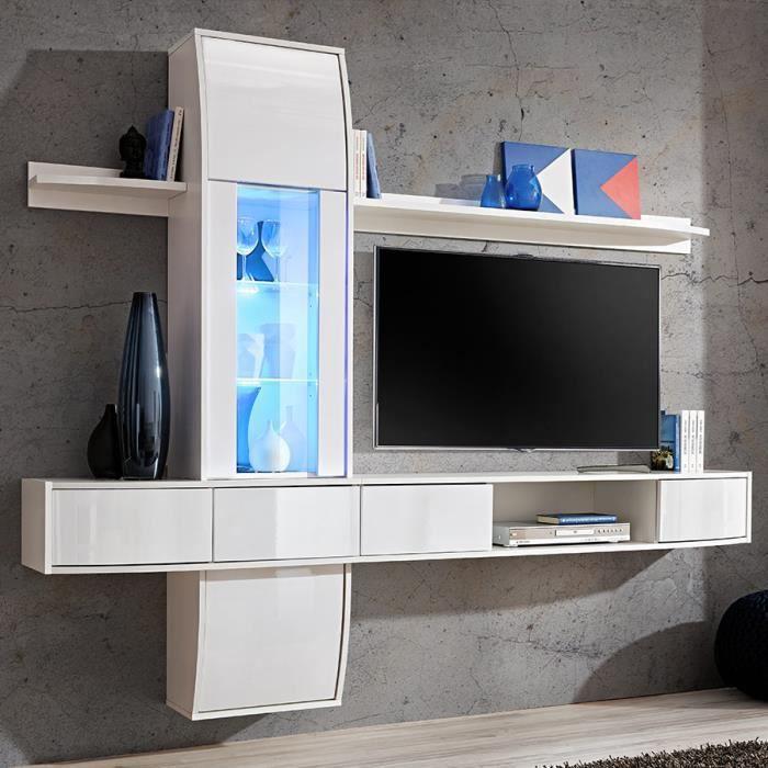 Meuble Tv Suspendu Blanc Laque Design Alatri 3 Blanc L 226 X H 187 X P 40 Cm