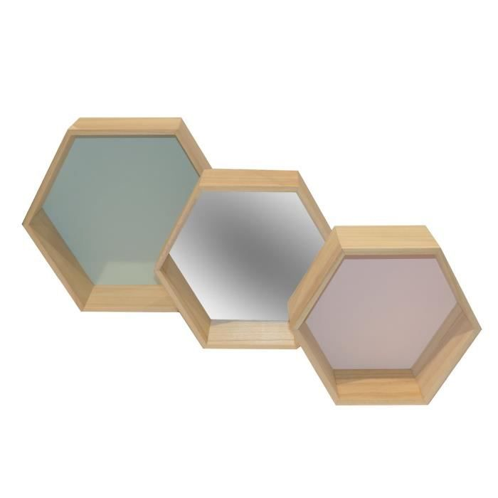 lot de 3 tag res murales hexagonales en bois vert miroir et rose achat vente etag re. Black Bedroom Furniture Sets. Home Design Ideas