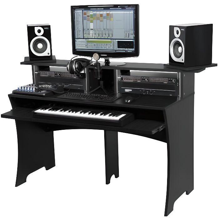Station De Travail Home Studio Finition Noire 223239 Mobilier Home Studio Avis Et Prix Pas Cher Cdiscount