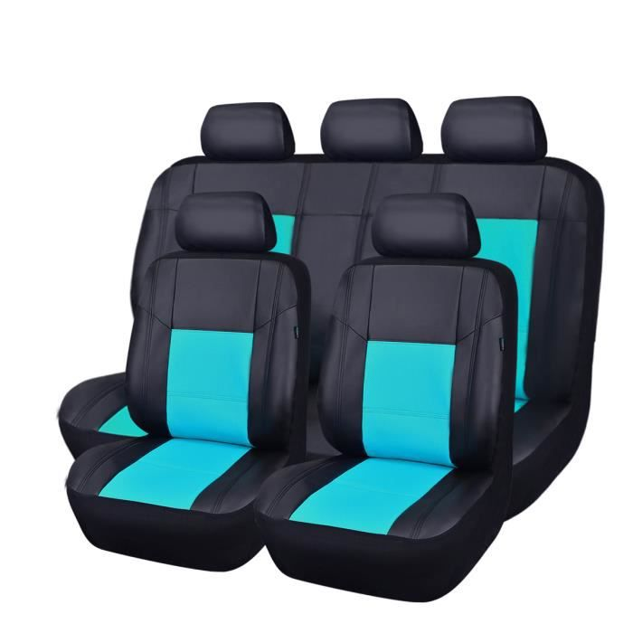 car pass housse si ge auto universelle en cuir 11 pi ces compatible airbag noir rouge achat. Black Bedroom Furniture Sets. Home Design Ideas