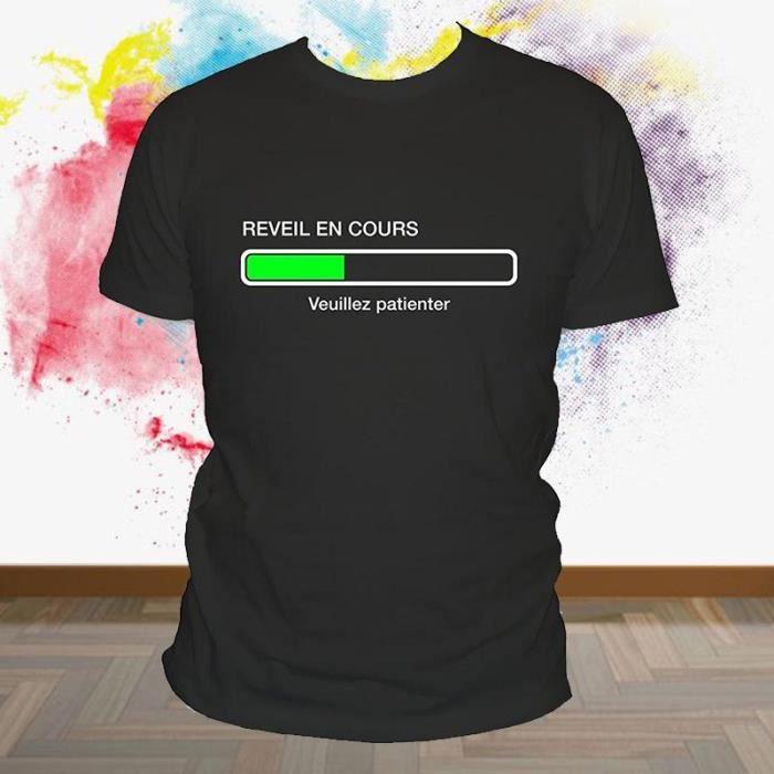 T-SHIRT Tee shirt humour geek En cours de réveil veuillez