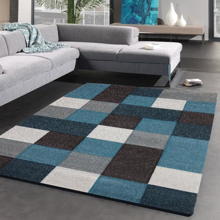 tapis moderne brillance cube bleu 120x170 par achat vente tapis cdiscount. Black Bedroom Furniture Sets. Home Design Ideas