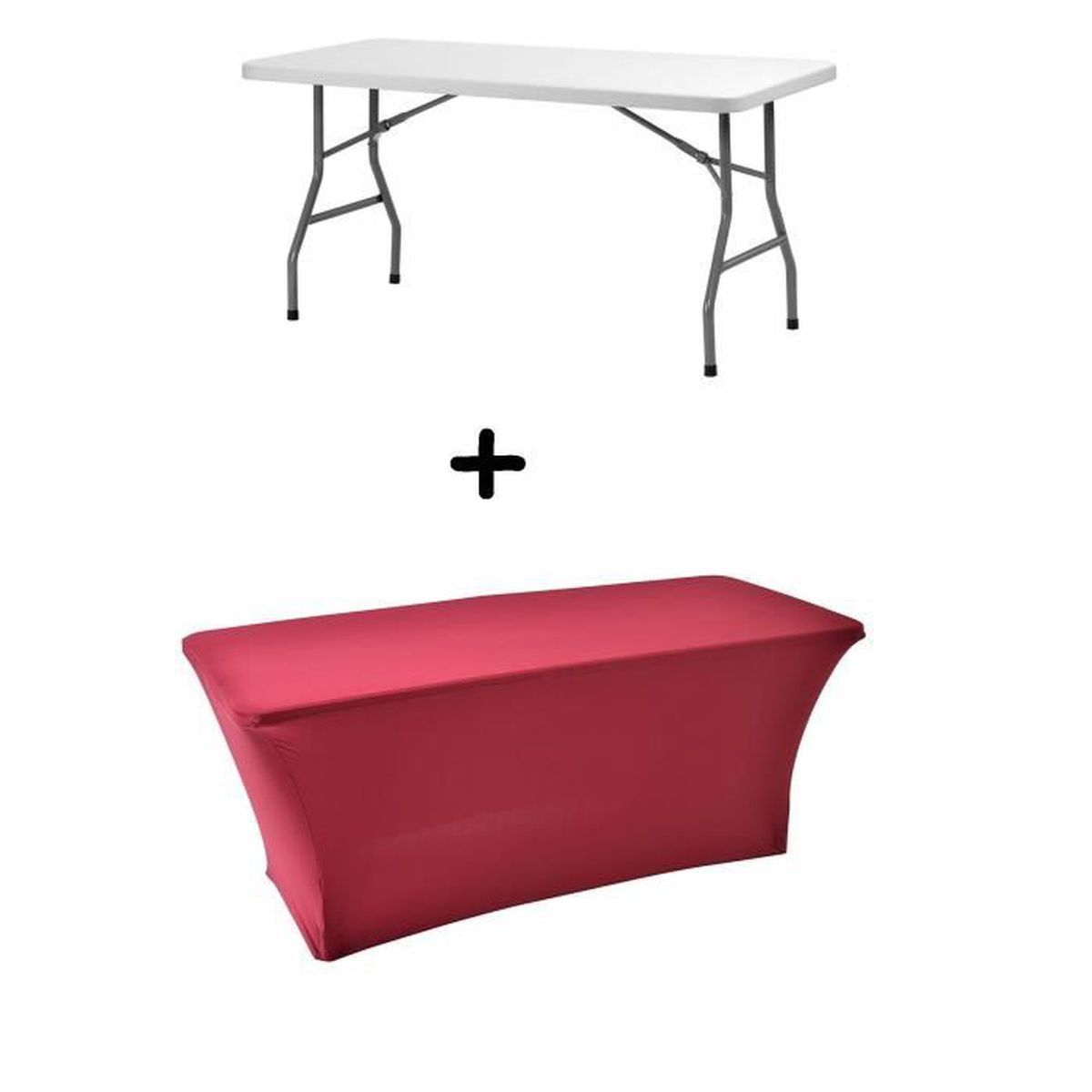 Table buffet 8 personnes pliables housse extensible for Table extensible 6 a 8 personnes blooma