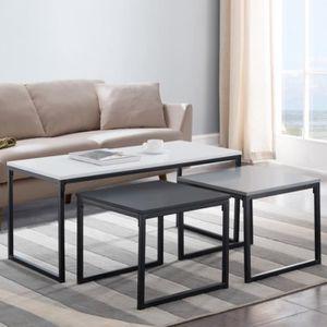 TABLE BASSE Ensemble de tables basses - MONOCHROME - 3 tables