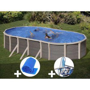 PISCINE Kit piscine acier et résine Gré Fusion ovale 6,90