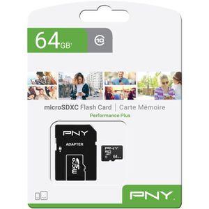 CARTE MÉMOIRE PNY Carte mémoire MICROSD 64GB PERFORMANCE PLUS C1