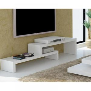 MEUBLE TV CLIFF 120 meuble TV laque blanc mat design