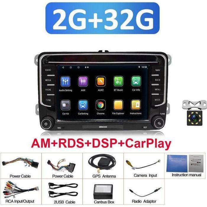 ESSGOO – Autoradio avec lecteur multimédia, stéréo, 7 pouces, Android 10.1, 2 din, CarPlay, pour Volkswagen VW Passat Touran GOLF PO