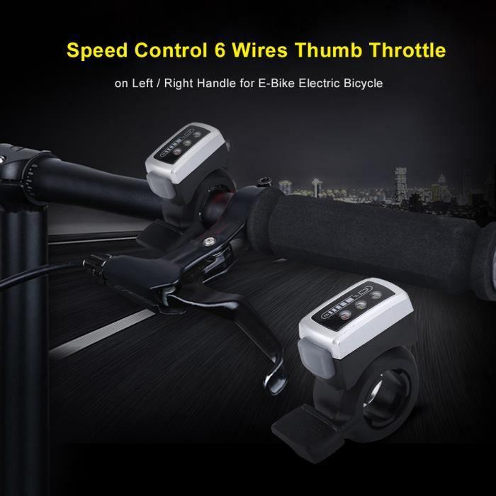 Commande de vitesse 36V 6 fils Accélérateur au pouce sur poignée gauche / droite pour vélo électrique pour vélo électrique-CWU