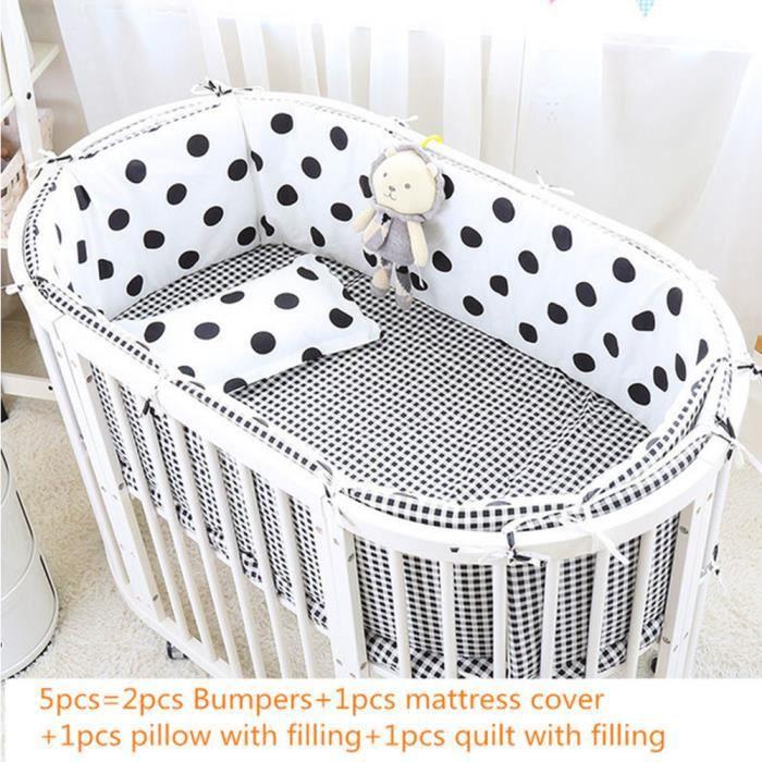 Kit de literie bébé ovale en coton, avec housse de matelas, berceau, ergonomie et sécurité, 5 pièces / ensemble