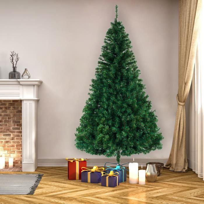 Sapin de Noël Artificiel avec Support de Fer 240 cm Décoration fêtes Arbre de noël 1138 Branches - Vert