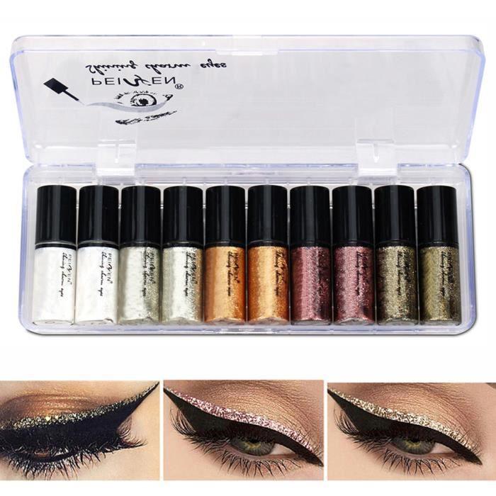 10 pièces/ensemble brillant Eye Liner cosmétiques pour femmes Pigment liquide paillettes Eyeliner maquillage