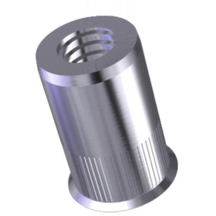 Douilles taraudées rivklé cannelées inox, diamètre de perçage 11 mm, diamètre nominal M8, boîte de 100 douilles
