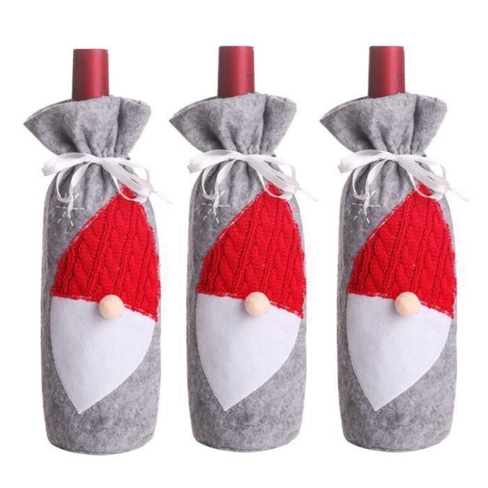 3 pièces couvercle de bouteille de vin durable créatif décoratif léger père noël sac POT PORTE-COUVERTS - RANGE USTENSILES