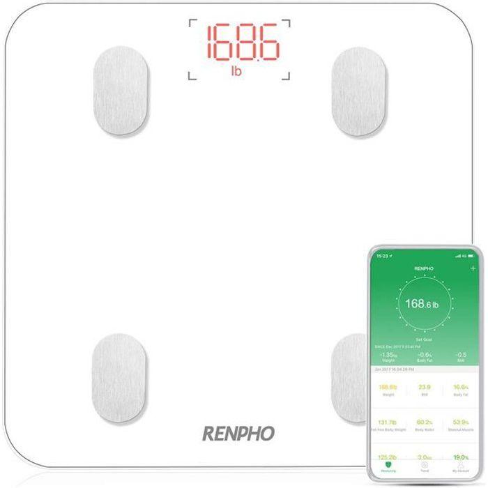 Pèse Personne Impédancemètre, RENPHO Balance Connecté, Pèse-Personne Bluetooth, Impedancemetre avec 13 Données Corporelles (BMI-M