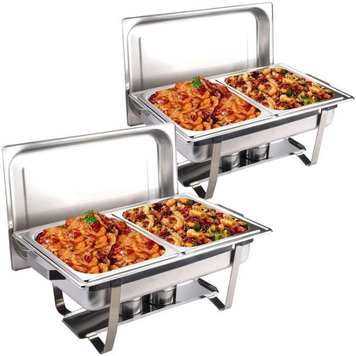 COSTWAY Lot de 2 Chafing Dish Chauffe-Plat en Acier Inoxydable 9 litres 2 Bols 60x35x32CM