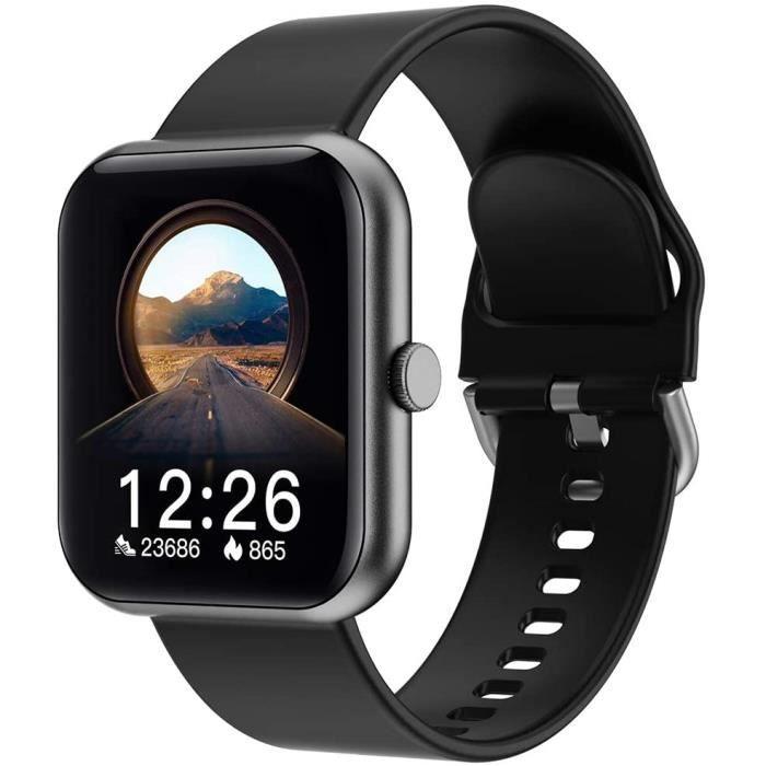 Montre connectée pour homme, femme, Bluetooth, moniteur de fréquence cardiaque, étanche IP67, montre de sport, pour Android iOS Noir