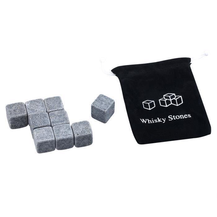 TRIXES Ensemble de 9pcs de pierres de Whisky Ice Cubes