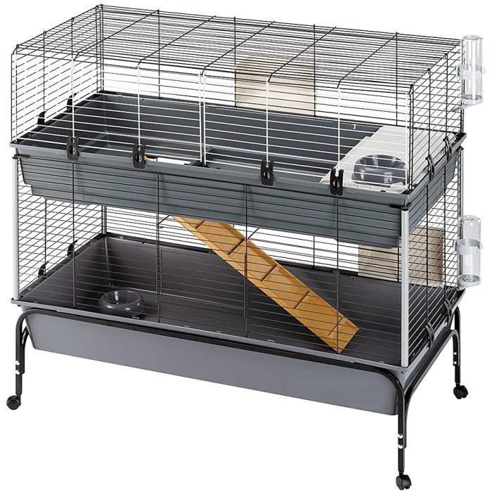 57047817ZP Cage à 2 étages pour Lapin Rabbit 120 Double Ouverture Frontale Support et Accessoires Inclus 628