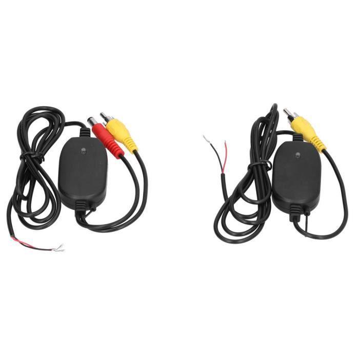 Fdit Émetteur de caméra de recul 2 pièces caméra de recul émetteur récepteur de recul 2.4G sans fil DC12V remplacement de