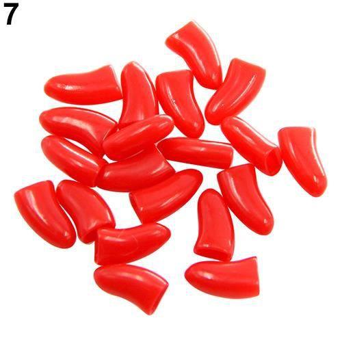 20 Pcs Doux Silicone Chien Chat Chat Chaton Patte Griffe De Contrôle Gaine Bouchons D'ongles Couvre Rouge XS
